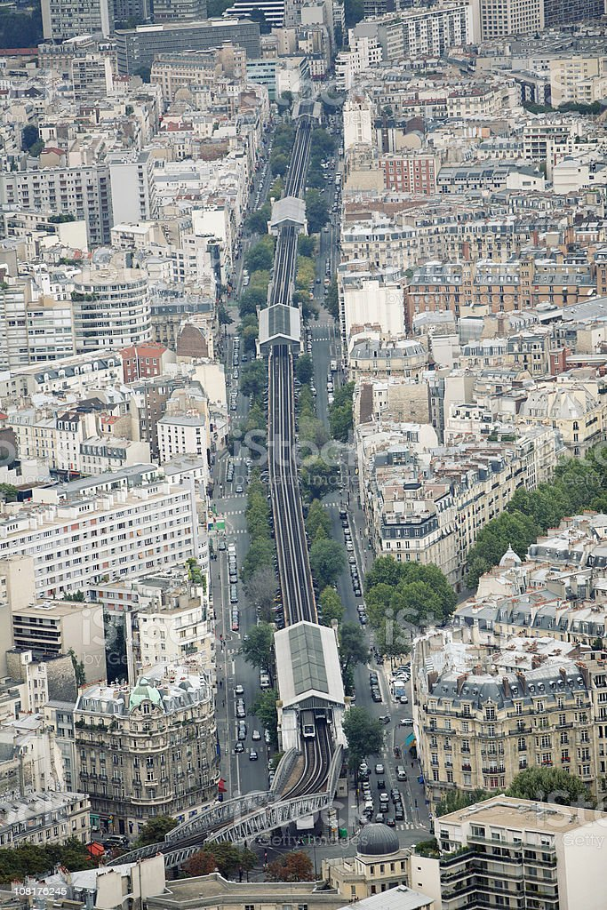 View of Gare Montparnasse, Paris Cityscape with Trains and Buildings royalty-free stock photo