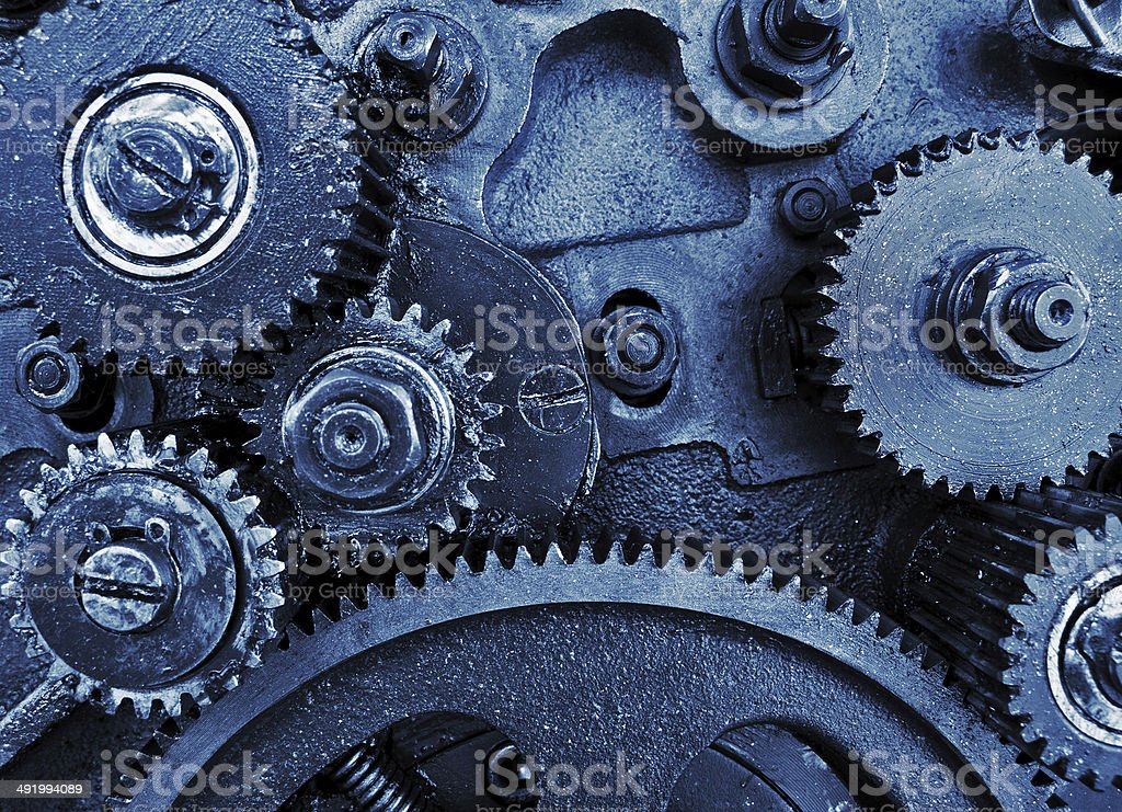 view of gears from old mechanism stock photo