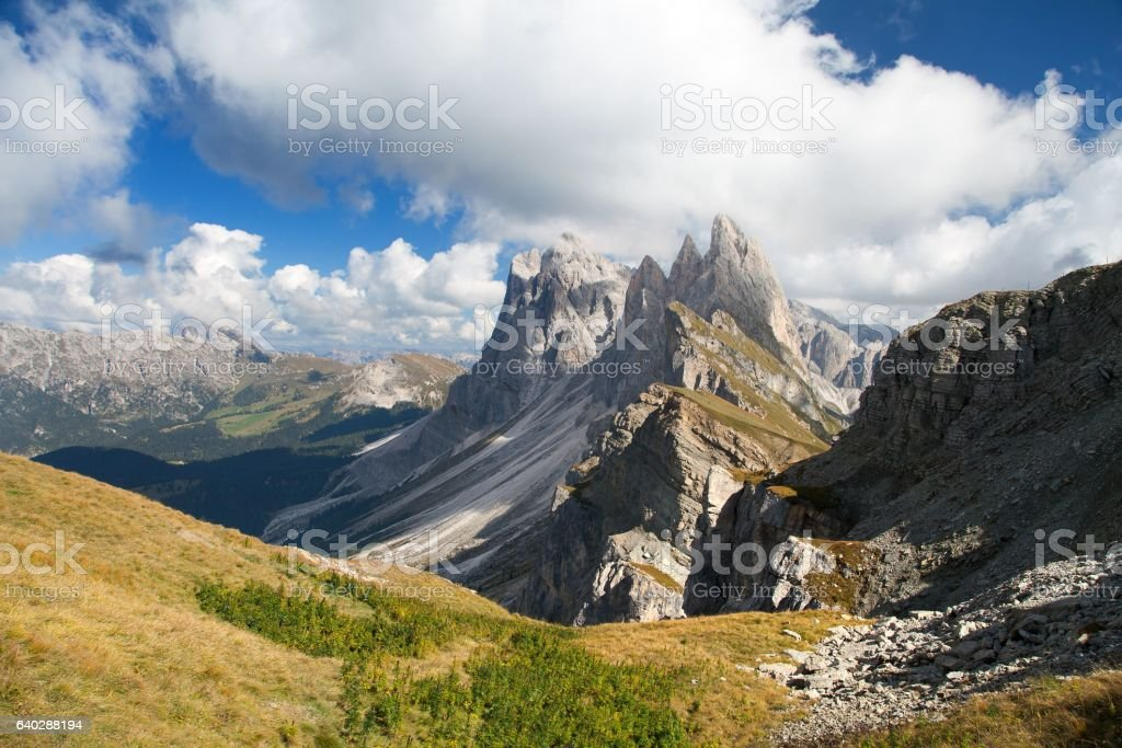 View of Geislergruppe or Gruppo delle Odle stock photo