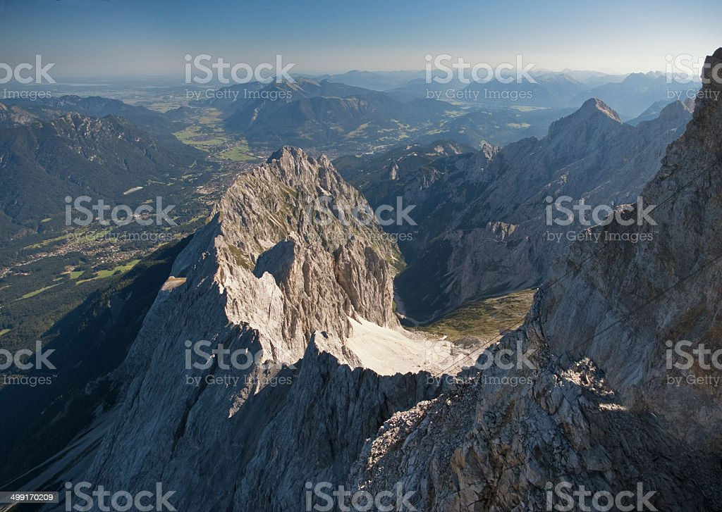 View of Germany and alps from Zugspitze Mountain stock photo