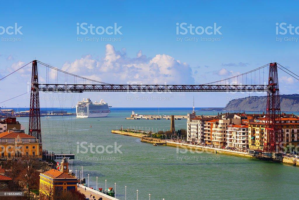 view of Getxo and hanging bridge stock photo