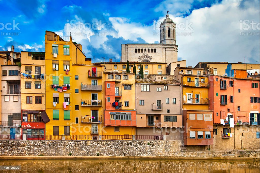 View of Girona, Spain on a sunny day stock photo