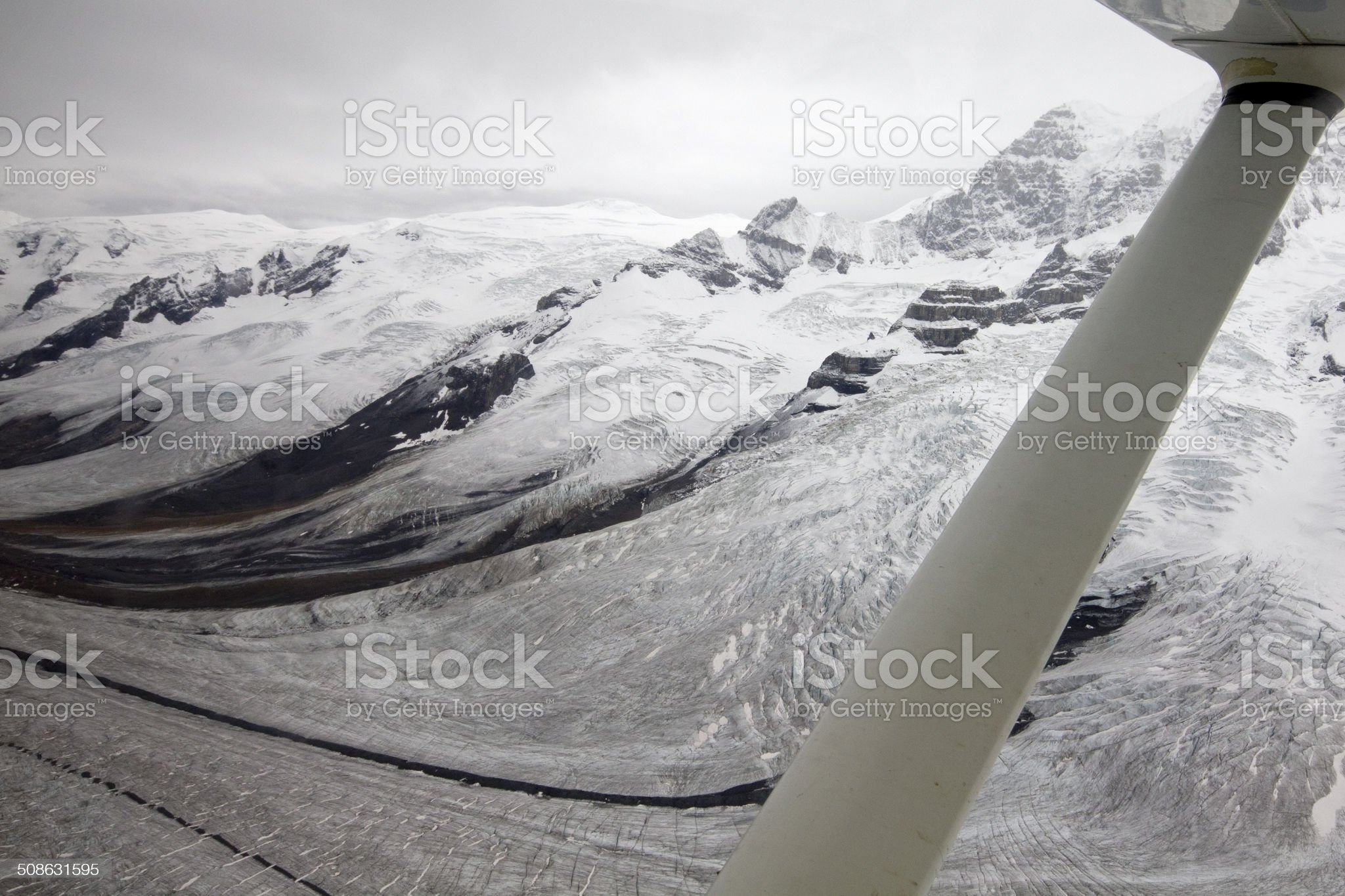View of glaciers at Wrangell St Elias Alaska, from plane. royalty-free stock photo