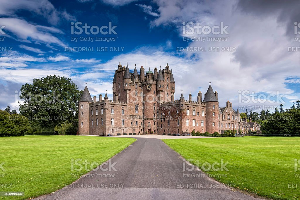 View of Glamis Castle in Scotland, United Kingdom. stock photo