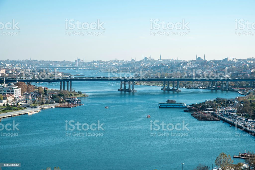 View Of Golden Horn In Autumn Day stock photo