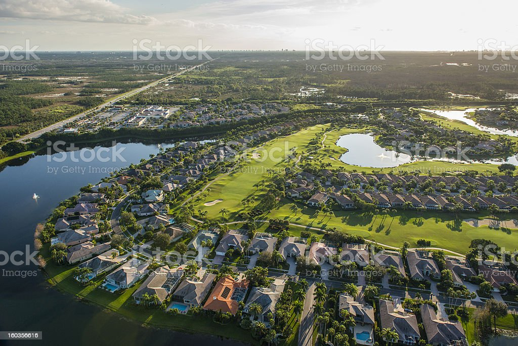 View of golf community in Palm Beach, Florida stock photo