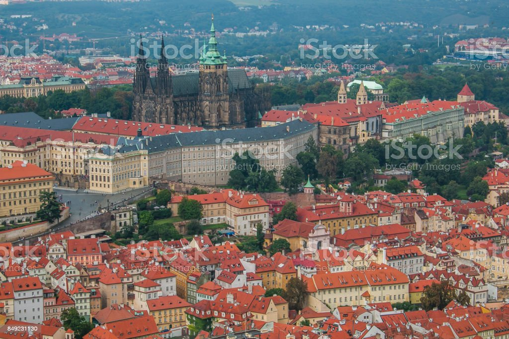 View of gothic cathedral of Saint Vitus in the center of Prague stock photo