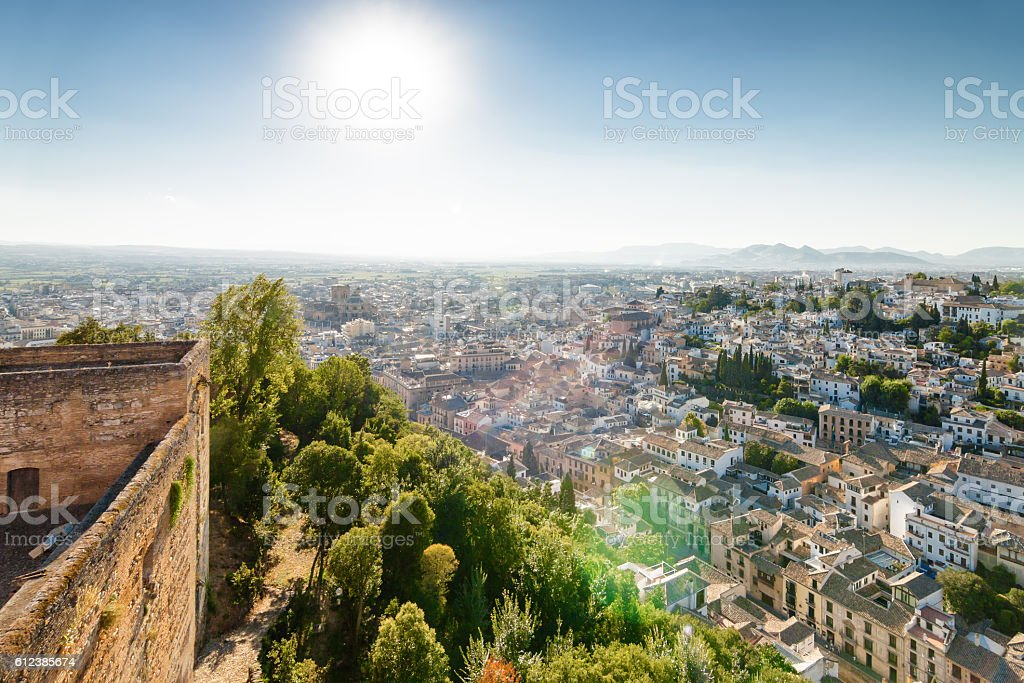 View of Granada from garden of Generalife, Andalusia province, Spain. stock photo