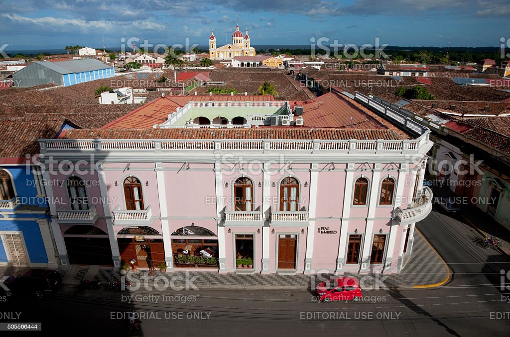 View of Granada, Nicaragua from La Merced bell tower stock photo