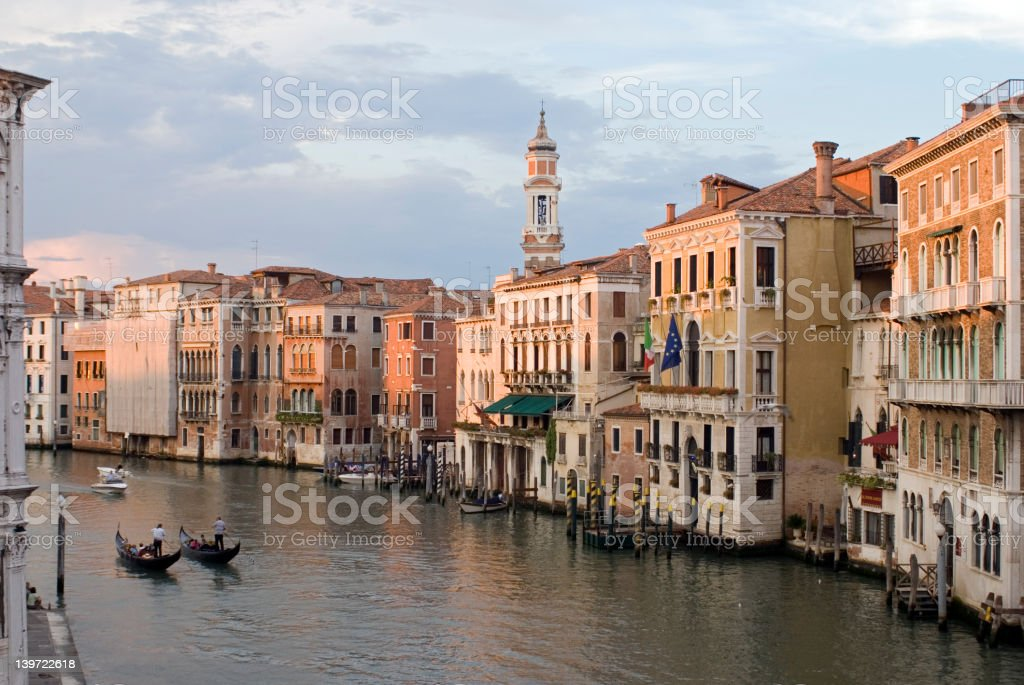 View of Grand Canal from Rialto Bridge in Venice, Italy royalty-free stock photo