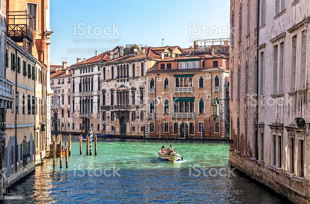 view of Grand Canal with tradional houses stock photo