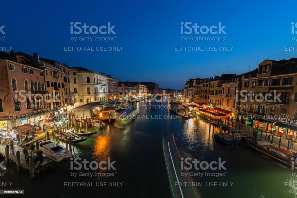 View of Grand Canale from Rialto Bridge at dusk stock photo