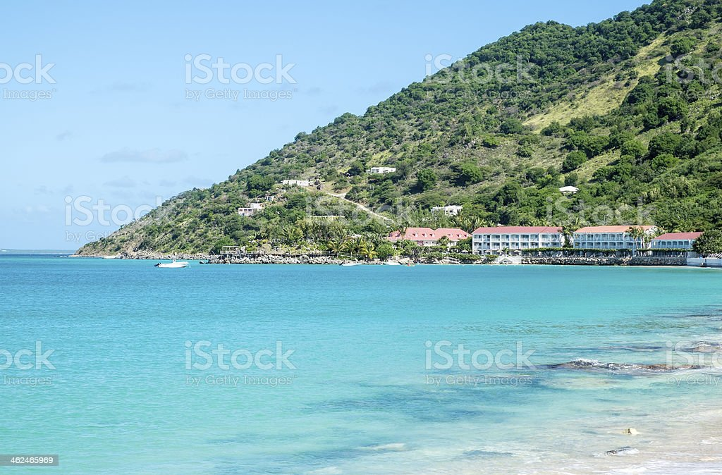 View of Grand Case Beach Club Saint Martin stock photo