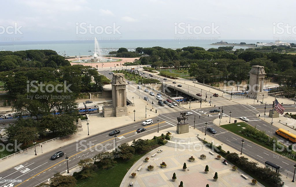 view of Grant Park in Chicago stock photo