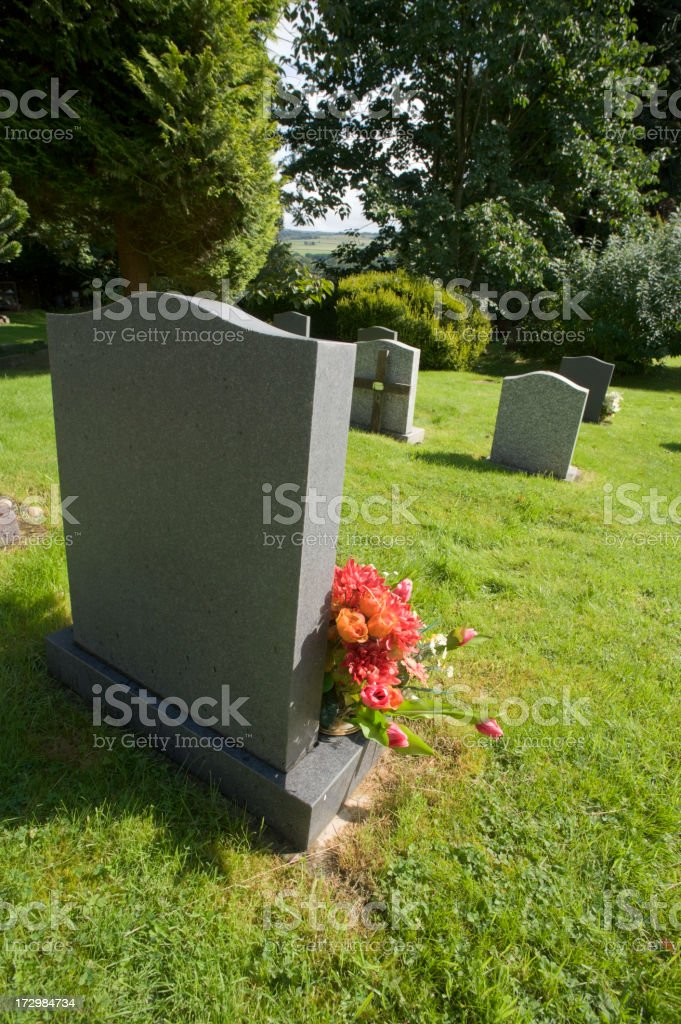 View of gravestones in a cemetery stock photo