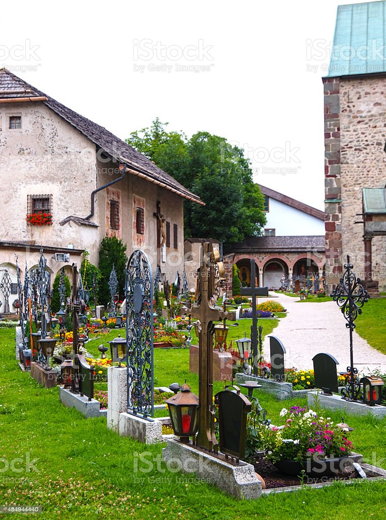 View of   graveyard at The collegiate church at San Candido/Innichen stock photo