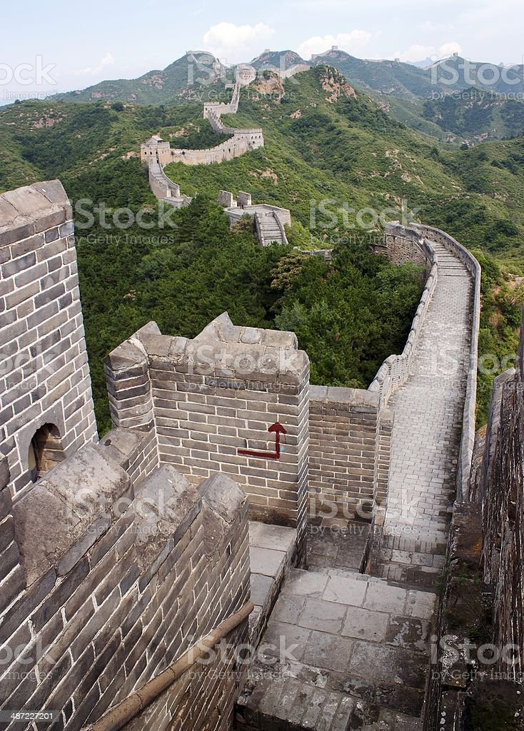 View of Great Wall of China located in Hebei province stock photo