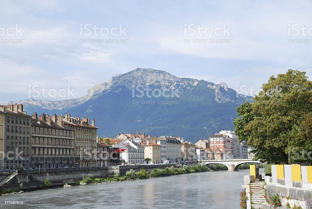View of Grenoble with the wide river Isere. stock photo