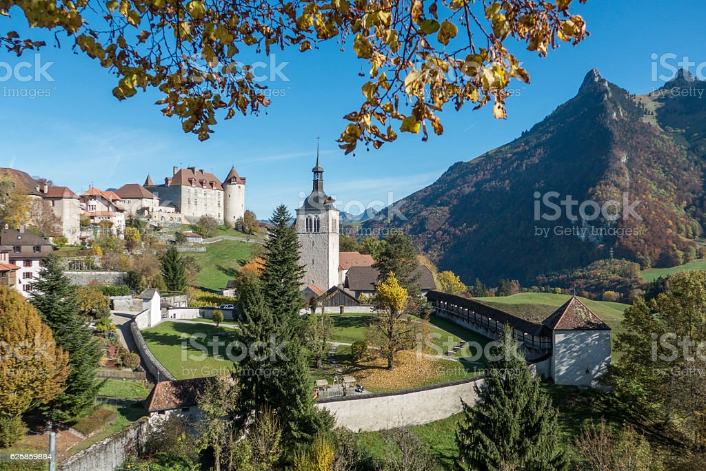 view of gruyeres in switzerland in fall stock photo