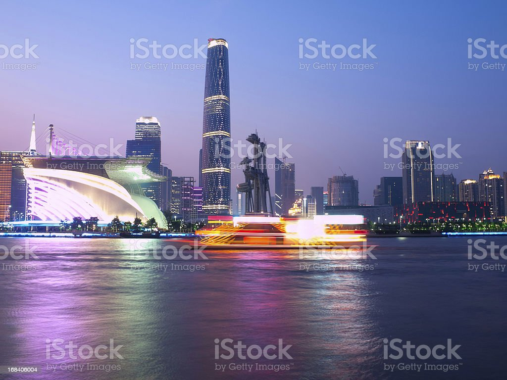 A view of Guangzhou at night by the water stock photo
