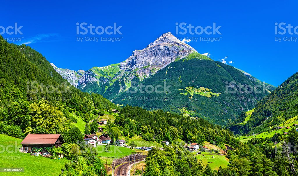 View of Gurtnellen, a village in Swiss Alps stock photo
