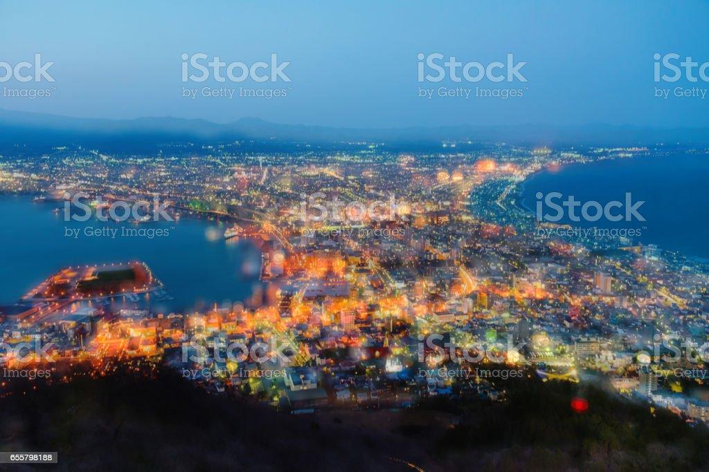 View of Hakodate Bay from Mt.Hakodate, Hokkaido, Japan stock photo