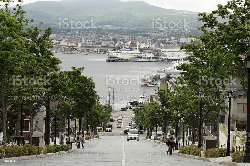 Blick auf Hakodate Hafen von Hachiman zaka slope Lizenzfreies stock-foto
