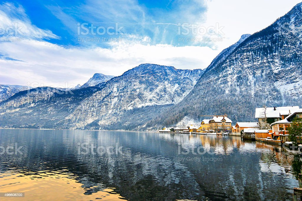 View of Hallstaetter see, Hallstatt Lake from the north stock photo