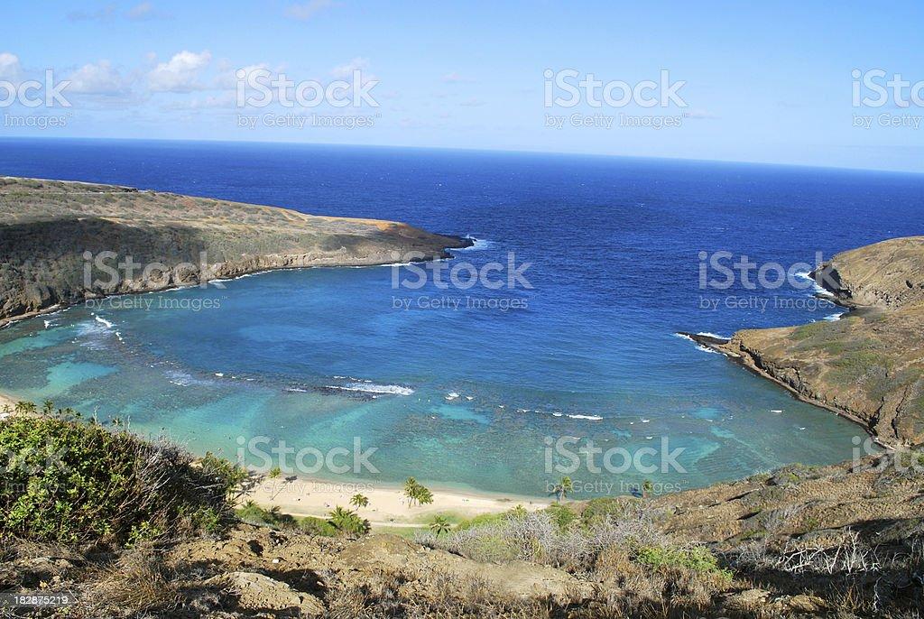 View of Hanauma Bay, Oahu, Hawaii stock photo