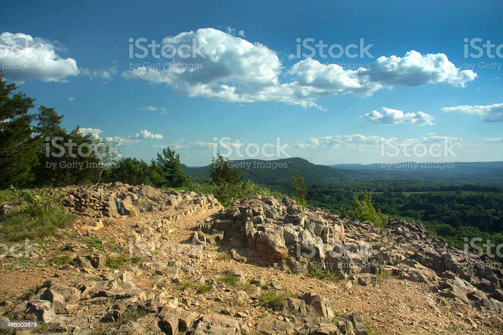 View of Hanging Hills from cliffs of Ragged Mountain, Connecticut. stock photo