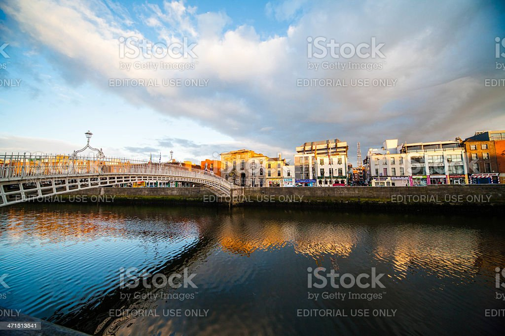 View of Ha'Penny Bridge in Dublin, Ireland royalty-free stock photo