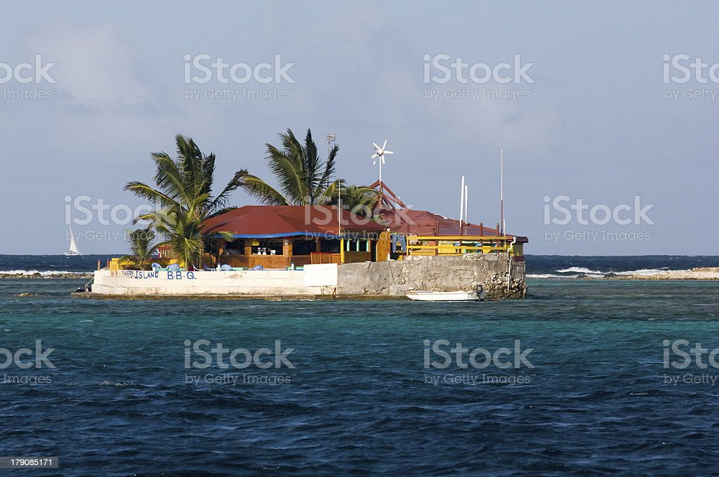 View of Happy Island, the Grenadines, Eastern Caribbean. stock photo