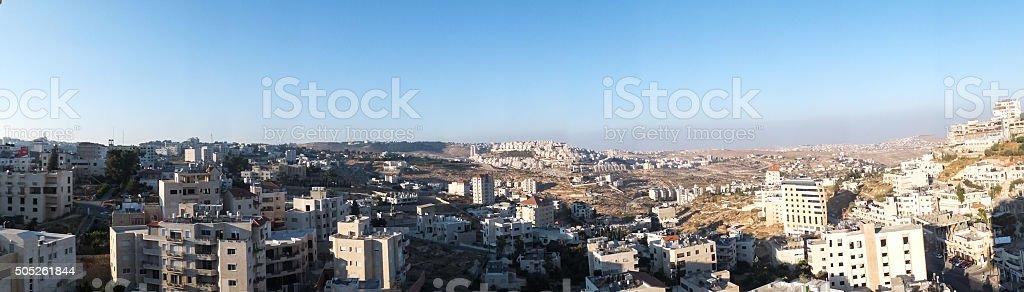 View of Har Homa (Homat Shmuel) from Bethlehem stock photo
