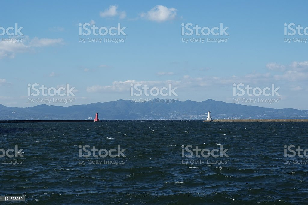 View of harbor and lighthouse royalty-free stock photo