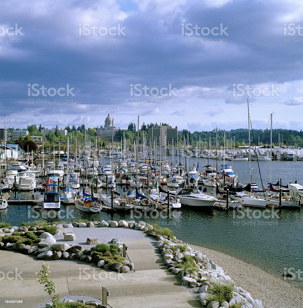 View of Harbor, Park, and Capitol, Olympia, Washington, United States stock photo