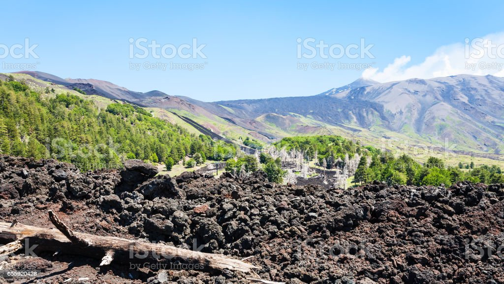 view of hardened lava on slope of Etna volcano stock photo