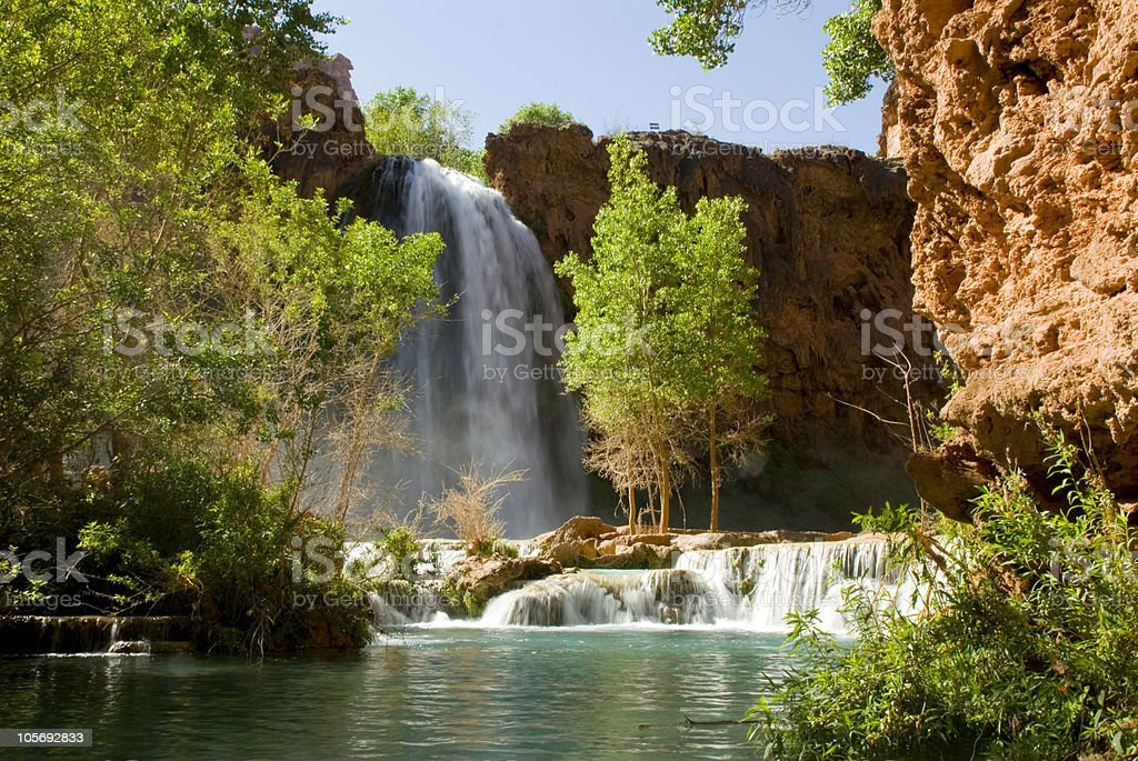 View of Havasu Falls from the Bottom of the Waterfall stock photo