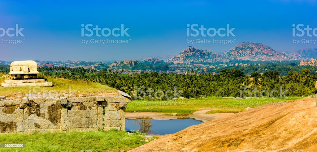 View of Hemakuta hill sunset point, Hampi, India stock photo