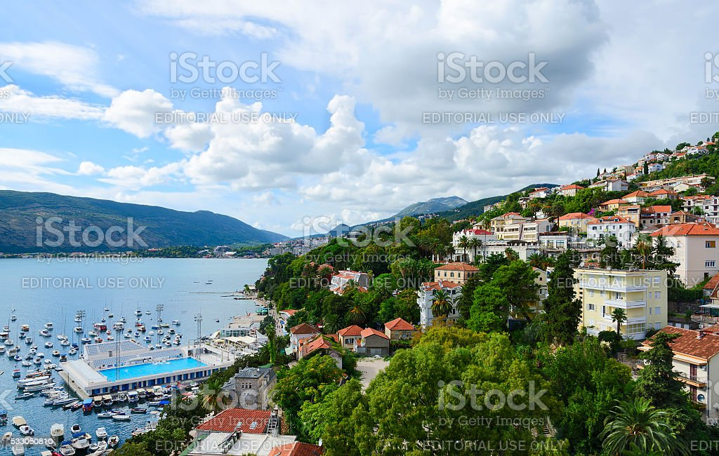 View of Herceg Novi and Bay from fortress wall, Montenegro stock photo