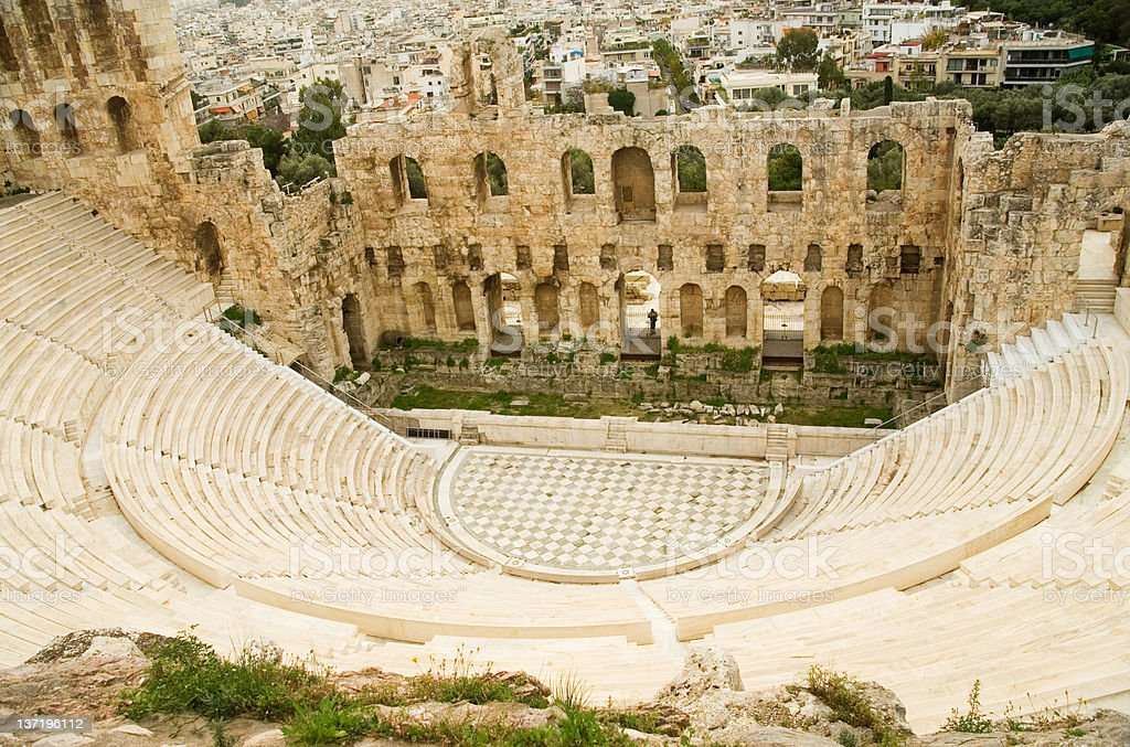 View of Herodes Atticus theatre from Akropolis hill stock photo