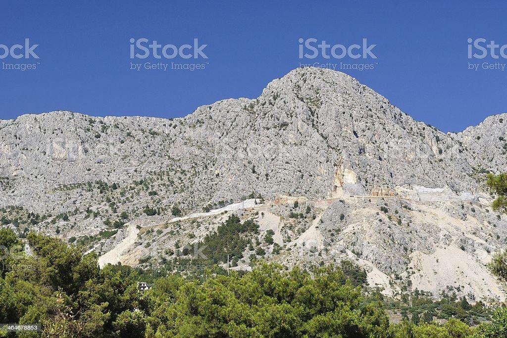 Widok Wysoki mountain Biokovo w Podgora.  Chorwacja zbiór zdjęć royalty-free