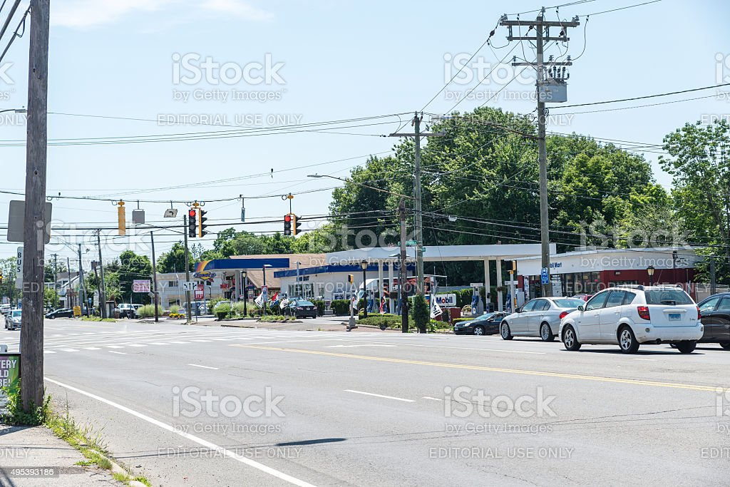 View of High Ridge Road in Stamford stock photo