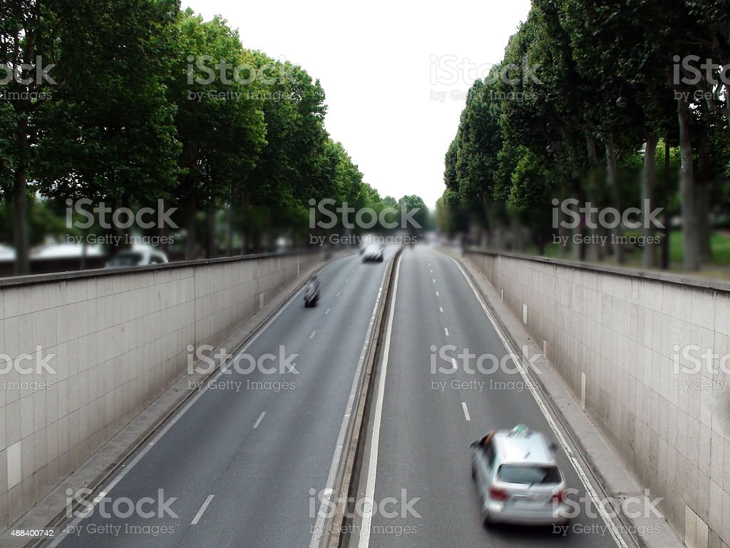 View Of Highway In Paris France Central Europe stock photo