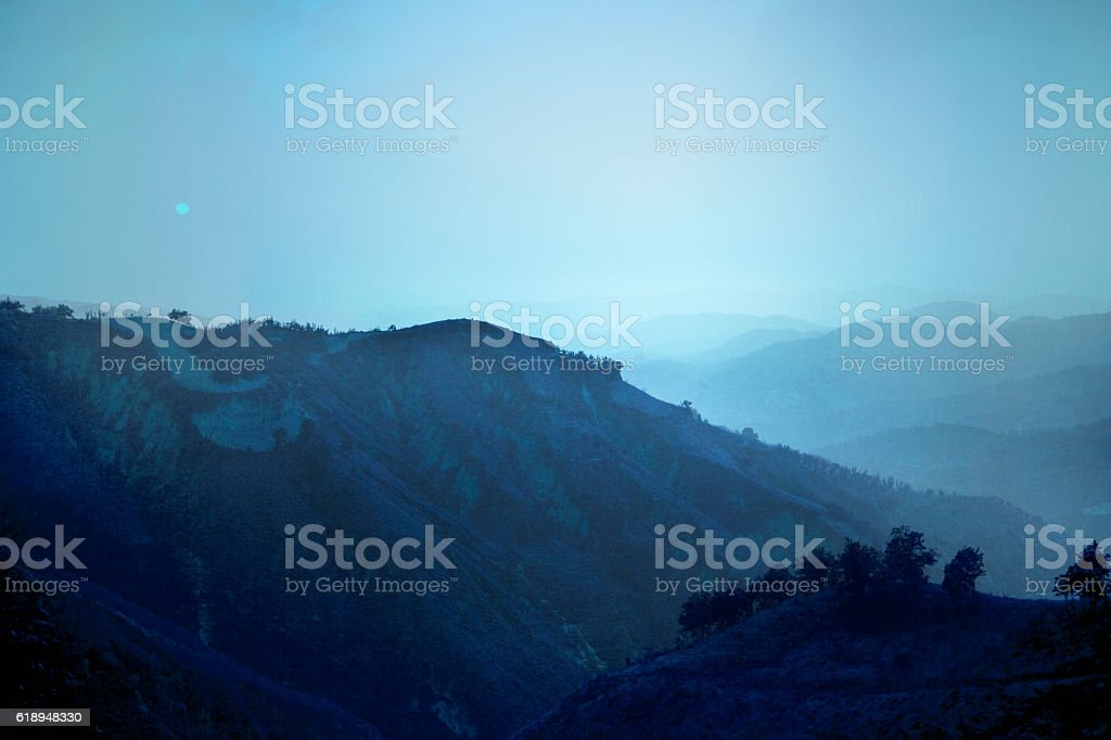 View of hills in Shanxi Province China stock photo