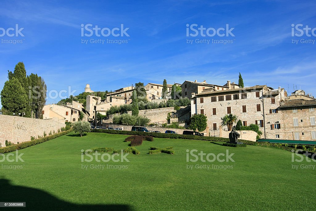 View of Historic Assisi with Blue Sky, Italy. stock photo