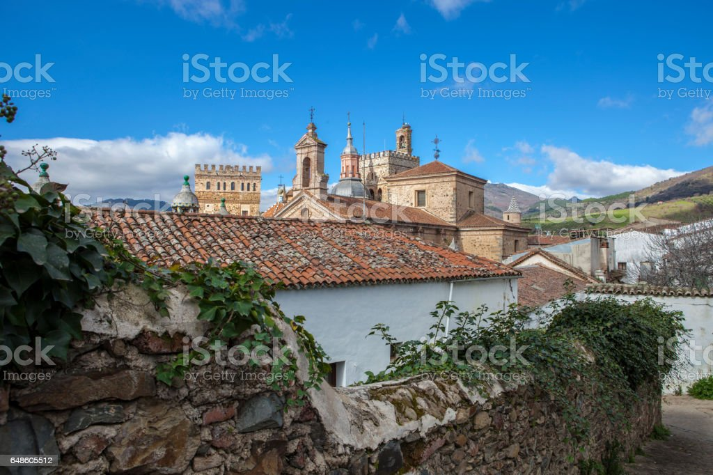 View of historic building roofs of Guadalupe town, Spain stock photo
