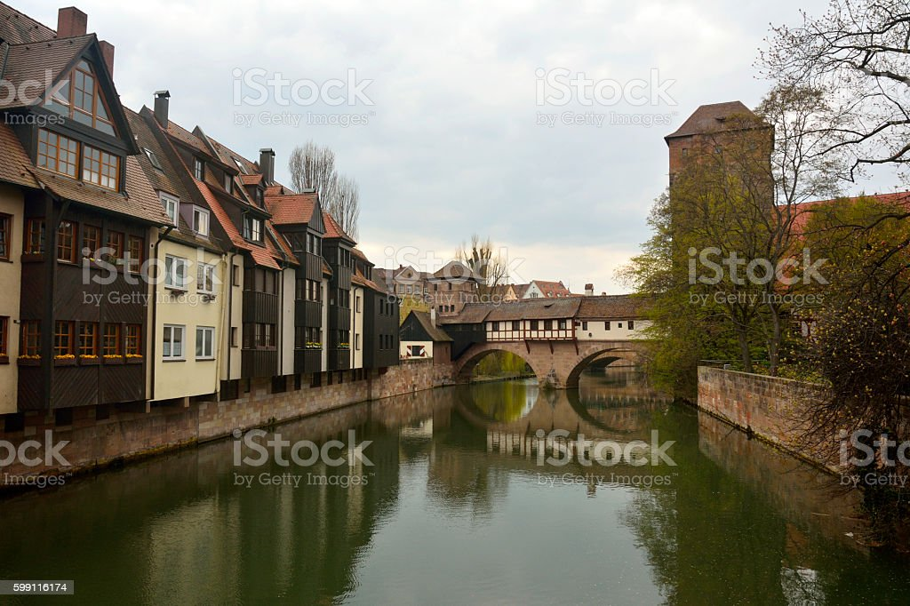 View of historic buildings on Pegnitz riverside in Nuremberg stock photo