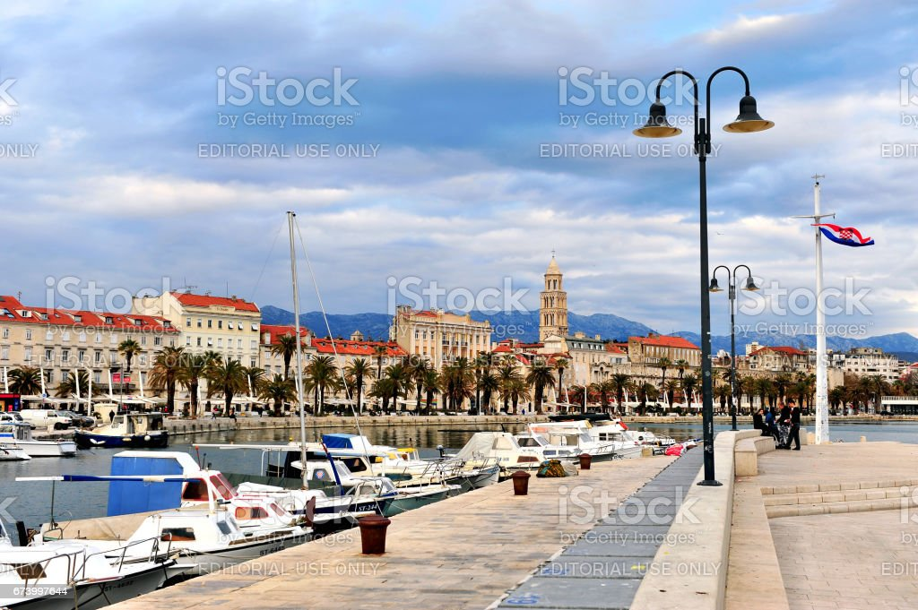 View of historical centre of Split stock photo