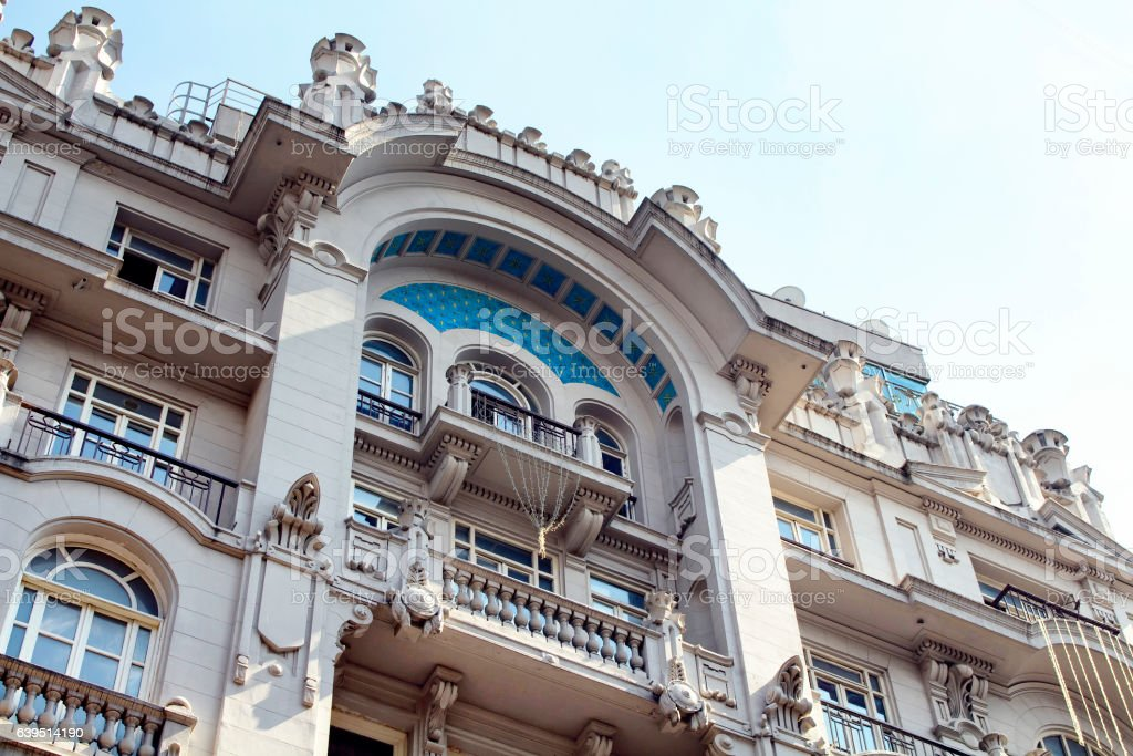 View of historical, old, building on Istiklal avenue stock photo