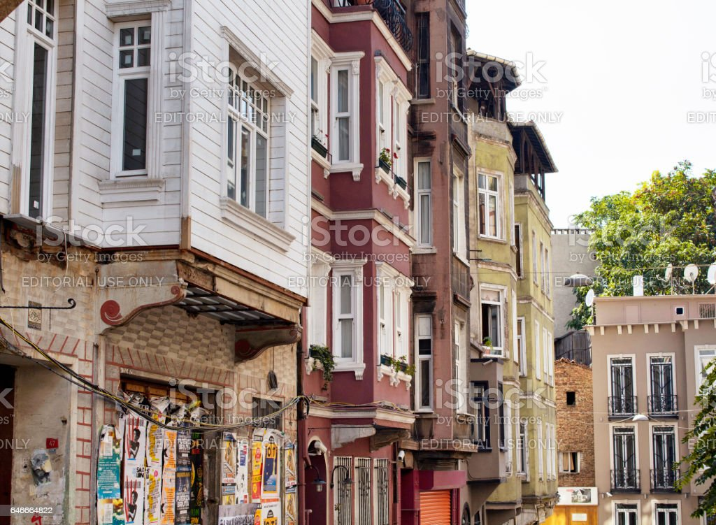 View of historical, old, colourful buildings in Cukurcuma stock photo